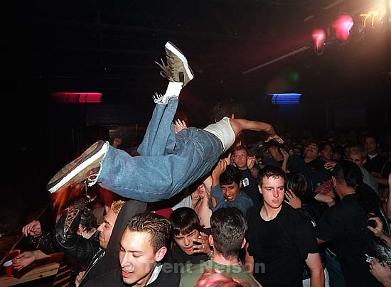 Stage diver at Voodoo Glow Skulls.<br />