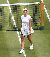 Yulia Putintseva (KAZ) after winning her match against Naomi Osaka (JPN) in their Ladies' Singles First Round match<br /> <br /> Photographer Rob Newell/CameraSport<br /> <br /> Wimbledon Lawn Tennis Championships - Day 1 - Monday 1st July 2019 -  All England Lawn Tennis and Croquet Club - Wimbledon - London - England<br /> <br /> World Copyright © 2019 CameraSport. All rights reserved. 43 Linden Ave. Countesthorpe. Leicester. England. LE8 5PG - Tel: +44 (0) 116 277 4147 - admin@camerasport.com - www.camerasport.com