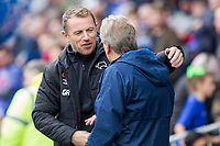 Derby County manager Gary Rowett greets Cardiff City manager Neil Warnock ahead of the Sky Bet Championship match between Cardiff City and Derby County at Cardiff City Stadium, Cardiff, Wales on 30 September 2017. Photo by Mark  Hawkins / PRiME Media Images.
