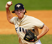 Florida International University Golden Panthers versus the Wagner College Seahawks at University Park Stadium, Miami, Florida on Saturday, March 3, 2007.  The Golden Panthers soundly defeated the Seahawks, 14-2...Senior pitcher Walker Whitley (33)