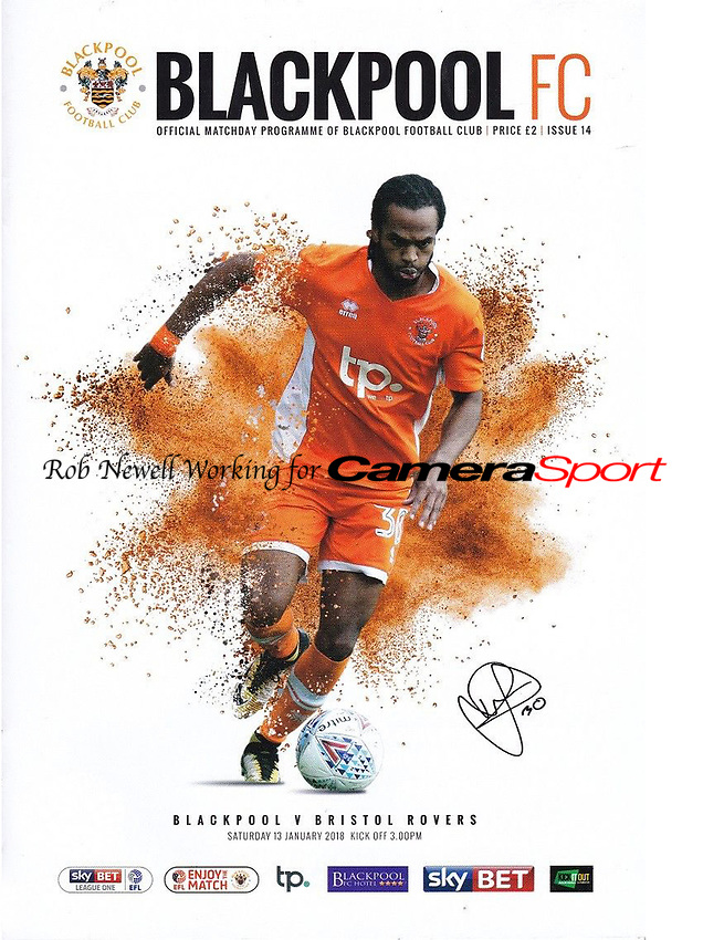 Blackpool Programme Cover - 13-Jan-2018 - Photo of Nathan Delfouneso - Photo by Rob Newell (Camerasport)
