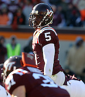 Nov 27, 2010; Charlottesville, VA, USA;  Virginia Tech Hokies quarterback Tyrod Taylor (5) during the game at Lane Stadium. Virginia Tech won 37-7. Mandatory Credit: Andrew Shurtlef