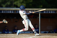 Jeremy Simpson (9) (Catawba) of the High Point-Thomasville HiToms at bat against the Martinsville Mustangs at Finch Field on July 26, 2020 in Thomasville, NC.  The HiToms defeated the Mustangs 8-5. (Brian Westerholt/Four Seam Images)