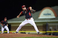 Batavia Muckdogs relief pitcher Brent Wheatley (23) delivers a pitch during a game against the Lowell Spinners on July 11, 2017 at Dwyer Stadium in Batavia, New York.  Lowell defeated Batavia 5-2.  (Mike Janes/Four Seam Images)