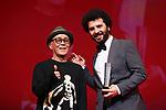 "Ryuichi Hiroki, Saeed Roustaee, November 05, 2019 - Saeed Roustaee, speak after winning ""Award for Best Director"" for the film ""Just 6.5 [Metri Shesh Va Nim]""during the 32nd Tokyo International Film Festival, award ceremony, in Tokyo, Japan on November 05, 2019. (Photo by 2019 TIFF/AFLO)"