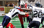 SIOUX FALLS, SD - MARCH 17:  Johnathan Dandridge #24 from the Sioux Falls Storm is brought down by Paul Vassallo #41 from the Wyoming Calvary in the first quarter of their game Sunday afternoon at the Sioux Falls Arena. (Photo by Dave Eggen/Inertia)