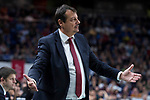 Anadolu Efes coach Ergin Ataman during Turkish Airlines Euroleague match between Real Madrid and Anadolu Efes at Wizink Center in Madrid, Spain. January 25, 2018. (ALTERPHOTOS/Borja B.Hojas)