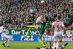 15.04.2018, Weser Stadion, Bremen, GER, 1.FBL, Werder Bremen vs RB Leibzig, im Bild<br /> <br /> Thomas Delaney (Werder Bremen #6)<br /> Willi Orban (RB Leipzig #04)<br /> Ishak Belfodil (Werder #29)<br /> <br /> Foto &copy; nordphoto / Kokenge