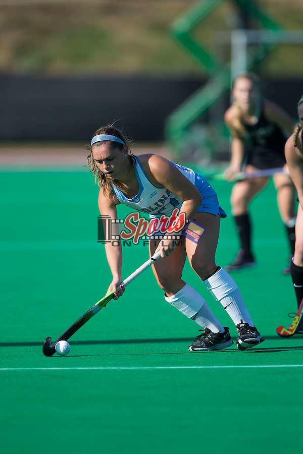Gab Major (27) of the North Carolina Tar Heels controls the ball during first half action against the Wake Forest Demon Deacons at Kentner Stadium on October 23, 2015 in Winston-Salem, North Carolina.  The Demon Deacons defeated the Tar Heels 3-2.  (Brian Westerholt/Sports On Film)