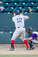 Kevin Heller (12) of the Salem Red Sox at bat against the Winston-Salem Dash at BB&T Ballpark on April 20, 2014 in Winston-Salem, North Carolina.  The Dash defeated the Red Sox 10-8.  (Brian Westerholt/Four Seam Images)