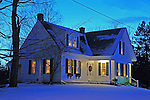 Home with Christmas Eve Lights in the Rural Village of Marlow, New Hampshire