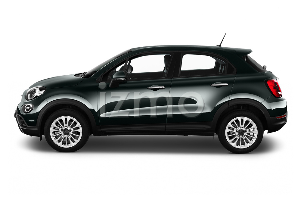Car Driver side profile view of a 2019 Fiat 500-X Cross 5 Door SUV Side View