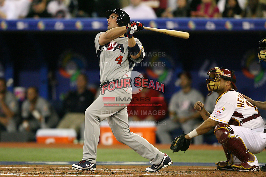 March 8, 2009:  Third baseman David Wright (4) of Team USA during the first round of the World Baseball Classic at the Rogers Centre in Toronto, Ontario, Canada.  Team USA defeated Venezuela  15-6 to secure a spot in the second round of the tournament.  Photo by:  Mike Janes/Four Seam Images