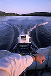 View over outboard motor on a Canadian lake
