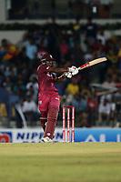 February 26th 2020, the Mahinda Rajapaksha International Stadium, Hambantota, Sri Lanka; One Day International cricket, Sri Lanka versus West Indies; Sunil Ambris pulls a shot to the leg side