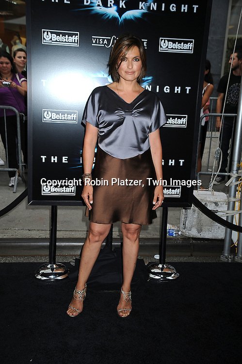 "Mariska Hargitay in Derek Lam dress..posing at The World Premiere of ""The Dark Knight""  on July 14, 2008 at The AMC Loews Lincoln Square in New York City.  The premiere was sponsered by VISA and Belstaff.....Robin Platzer, Twin Images"