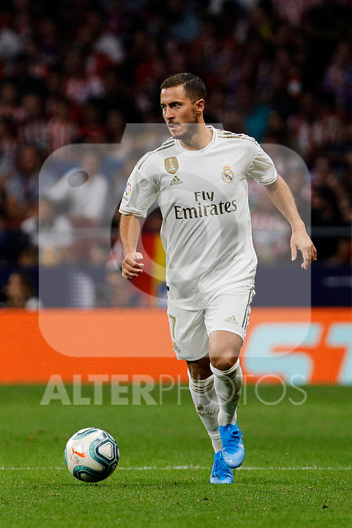 Eden Hazard of Real Madrid during La Liga match between Atletico de Madrid and Real Madrid at Wanda Metropolitano Stadium{ in Madrid, Spain. {iptcmonthname} 28, 2019. (ALTERPHOTOS/A. Perez Meca)