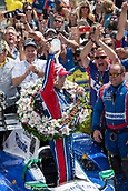 May 28th Indianapolis Speedway, Indiana, USA;  Takuma Sato, driver of the #26 Andretti Autosport Honda, celebrates by pouring the  traditional glass bottle of milk over his head following his victory of the 101st running of the Indianapolis 500 on May 28, 2017, at the Indianapolis Motor Speedway in Indianapolis, Indiana.