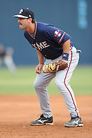Rome Braves Jakob Dalfonso #9 awaits the play during  a game against  the Asheville Tourists at McCormick Field in Asheville,  North Carolina;  May 18, 2011. The Braves won the game 8-7.  Photo By Tony Farlow/Four Seam Images