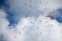 ROLDANILLO-COLOMBIA- Varios pilotos vuelan hoy sabado 26 de enero en Roldanillo Valle del Cauca, durante el último día de la Superfinal del Paragliding World Cup 2013  competencia que se desarrolla por primera vez en Colombia. En la SPWC participan los 140 mejores pilotos del mundo provenientes de 32 paises./ Several pilots fly today during the last day of the Paragliding World Cup 2013. In the SPWC involved more than a hundred athletes from 32 countries. Photo. VizzorImage/Federico Rios/Cont.