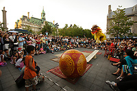 Montreal (Qc) CANADA - Sept 1st  2008 - .Chinese acrobats,.OLd-Montreal in the evening...