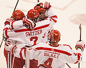 Shane Switzer (BU - 2), Jakob Forsbacka Karlsson (BU - 23), Brandon Hickey (BU - 4) The Boston University Terriers defeated the visiting Yale University Bulldogs 5-2 on Tuesday, December 13, 2016, at the Agganis Arena in Boston, Massachusetts.