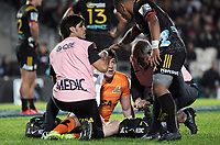 Te Toiroa Tahuriorangi checks on Tomas Lezana during the Super Rugby match between the Chiefs and Jaguares at Rotorua International Stadum in Rotorua, New Zealand on Friday, 4 May 2018. Photo: Dave Lintott / lintottphoto.co.nz