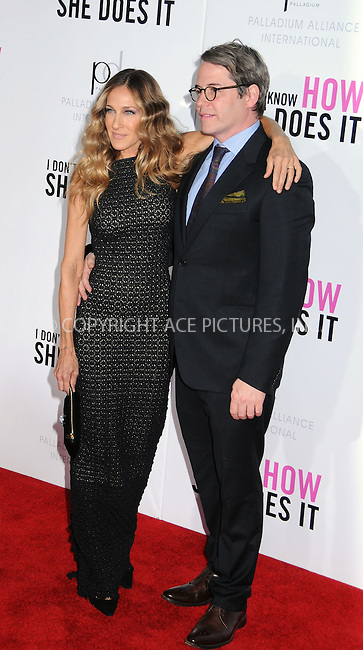 WWW.ACEPIXS.COM . . . . .  ....September 12 2011, New York City....Actress Sarah Jessica Parker and Matthew Broderick arriving at The premiere of 'I Don't Know How She Does It' at AMC Loews Lincoln Square on September 12, 2011 in New York City. ....Please byline: JOE EAST - ACE PICTURES.... *** ***..Ace Pictures, Inc:  ..Philip Vaughan (212) 243-8787 or (646) 679 0430..e-mail: info@acepixs.com..web: http://www.acepixs.com