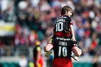 Owen Farrell of Saracens with his brother Gabriel on his shoulders after the match. Aviva Premiership Final, between Saracens and Exeter Chiefs on May 28, 2016 at Twickenham Stadium in London, England. Photo by: Patrick Khachfe / JMP