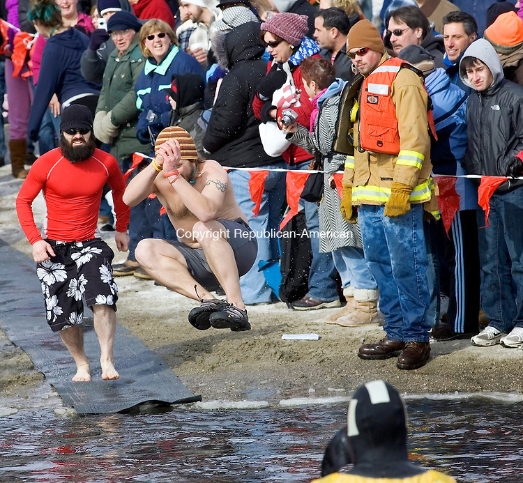 Winsted, CT-30, January 2010-012710CM09 The 7th annual Penguin Plunge was held Saturday morning at Highland Lake in Winsted.   More then twenty teams braved the frigid weather participated in the event which raised money for the Special Olympics.        --Christopher Massa Republican-American