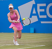 June 13th 2017, Nottingham, England; WTA Aegon Nottingham Open Tennis Tournament day 4;  Backhand from Alison Riske of USA on her way to victory over Heather Watson of Great Britain in two sets