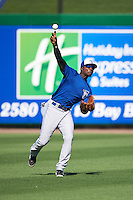 Dunedin Blue Jays outfielder D.J. Davis (6) during practice before a game against the Clearwater Threshers on April 8, 2016 at Bright House Field in Clearwater, Florida.  Dunedin defeated Clearwater 8-3.  (Mike Janes/Four Seam Images)