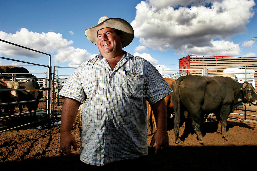 A Stockman (Australian cowboy) and owner of the rodeo bull company is pictured at the Dubbo rodeo , New South Wales. Australia.Rodeo is an integral part of rural Australian lifestyle and competitors travel great distances to compete on the circuit. Rodeo consists of many events ? ladies barrel race, saddle bronc riding, bull riding, bareback bronc riding, rope and tie, steer wrestling, team roping and the steer ride. .