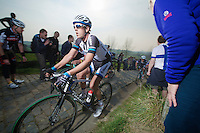 Koen de Kort (NLD/Giant-Shimano) up the Paterberg (max 20%)<br /> <br /> 57th E3 Harelbeke 2014
