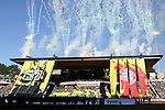 06 August 2014: Pregame tifo with banners and fireworks. The Major League Soccer All-Stars played Bayern Munich of the German Bundesliga at Providence Park in Portland, Oregon in the 2014 MLS All-Star Game.