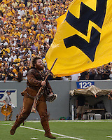 The WVU Mountaineer mascot. The WVU Mountaineers beat the Marshall Thundering Herd 34-13 in a game called just after the fourth quarter started because of severe thunderstorms in the area. The game was played at Milan Puskar Stadium in Morgantown, West Virginia on September 4, 2011.