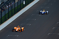Verizon IndyCar Series<br /> Indianapolis 500 Race<br /> Indianapolis Motor Speedway, Indianapolis, IN USA<br /> Sunday 28 May 2017<br /> Fernando Alonso, McLaren-Honda-Andretti Honda leads Alexander Rossi, Andretti Herta Autosport with Curb-Agajanian Honda.<br /> World Copyright: F. Peirce Williams<br /> LAT Images