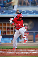 Palm Beach Cardinals Johan Mieses (37) at bat during a game against the Charlotte Stone Crabs on April 21, 2018 at Charlotte Sports Park in Port Charlotte, Florida.  Charlotte defeated Palm Beach 5-2.  (Mike Janes/Four Seam Images)