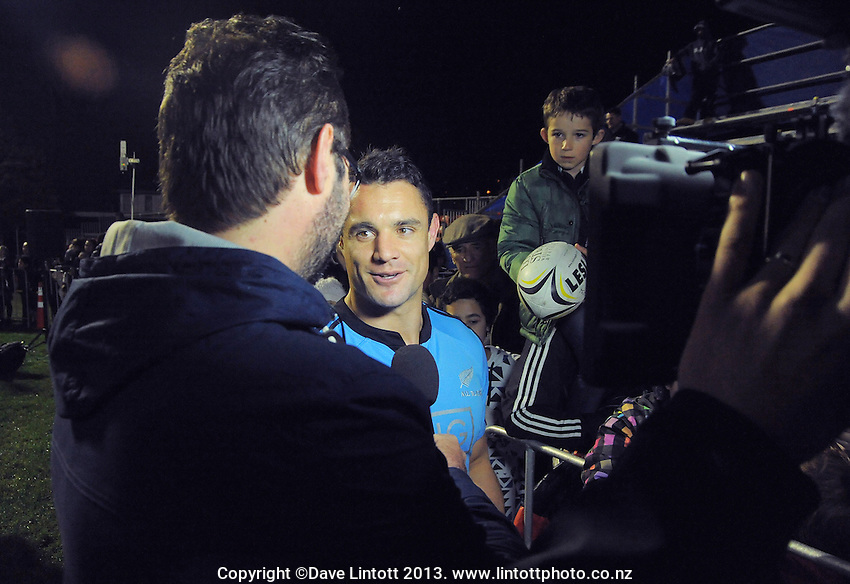 Dan Carter chats with Skysport's Scotty Stevenson after the rugby union match between the Wellington Lions and the All Blacks at Hutt Recreation Ground, Wellington, New Zealand on Friday, 9 August 2013. Photo: Dave Lintott / lintottphoto.co.nz