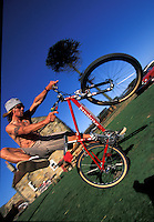 Jason McRoy riding Specialized bike  at Pete Tomkins house , Raw,  North Yorkshire  1995.pic © Steve Behr/Stockfile.info@stockfile.co.uk