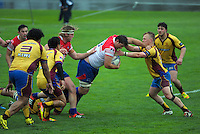 Action from the Heartland Championship rugby match between Horowhenua-Kapiti (red white and blue) and North Otago at Levin Domain, Levin, New Zealand on Saturday, 19 September 2015. Photo: Dave Lintott / lintottphoto.co.nz