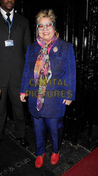NANCY LAM.At the OK Secrets Party at Studio Valbonne, London, UK..March 8th 2007.full length purple blue jacket trousers suit scarf floral print red shoes fashion disaster glasses .CAP/ROS.©Steve Ross/Capital Pictures