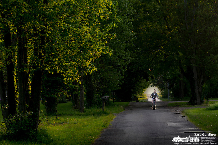 Young girl on a bicycle rides along a rough country road shrouded with trees and shadows.