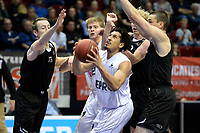 GRONINGEN - Basketbal, Donar - BSW Weert, Martiniplaza,  Dutch Basketball League, seizoen 2017-2018, 28-10-2017,  Donar speler Sean Cunningham in fel duel onder de basket