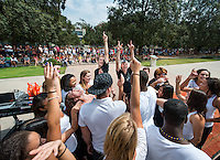 Occidental College students get involved at the annual Involvement Fair (formerly Club Day) on Tuesday, September 11, 2012 in the Academic Quad. About 120 organizations set up shop with mailing list sign up sheets, fliers for upcoming events and information about ways to get involved with their department or organization. (Photo by Marc Campos, Occidental College Photographer)