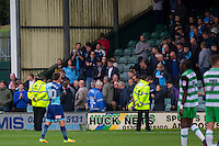 Matthew Bloomfield of Wycombe Wanderers claps the fans at full time of the Sky Bet League 2 match between Yeovil Town and Wycombe Wanderers at Huish Park, Yeovil, England on 8 October 2016. Photo by Mark  Hawkins / PRiME Media Images.