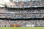 Real Madrid's players and Almeria's players during minute of silence in memory of the victims of the earthquake in Nepal during La Liga match. April 29,2015. (ALTERPHOTOS/Acero)