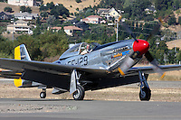 """Stu Eberhardt taxies his North American Aviation built P-51 Mustang """"Merlin's Magic"""" along the ramp during a fly-in at the Nut Tree airport in Vacaville, California. The Mustang is considered by many to be the premier fighter of World War II. Stuart has campaigned Merlin's Magic at the Reno National Championship Air Races regularly since purchasing the aircraft in 1986."""