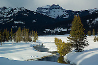 Soda Butte Creek and Beartooth Mountains in winter-Yellowstone NP