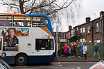 Stockport fans waiting for a bus after the game. Stockport County v Barnet, 07032020. Edgeley Park, National League. Photo by Paul Thompson.